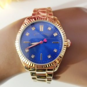 Betsey Johnson Deep Blue Face Gold Watch